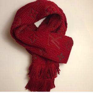 Authentic Louis Vuitton Red Logomania Scarf
